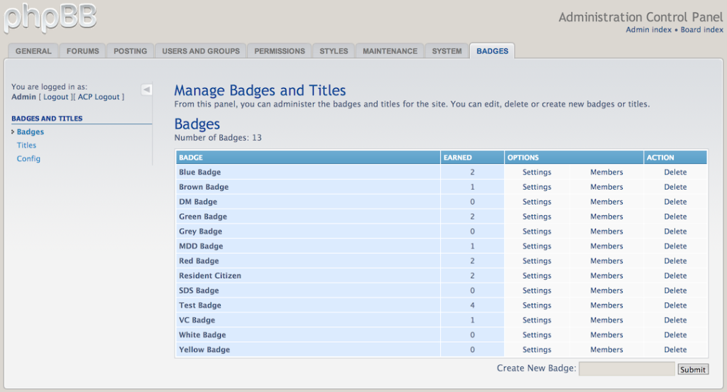Badges in the Administration Control Panel