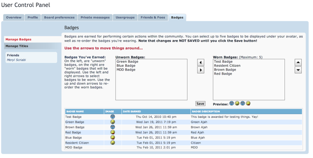 Badges in the User Control Panel